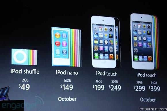 ตารางราคาที่อเมริกาของ iPod แต่ละรุ่น