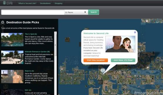 แผ่นที่เว็บไซต์โลกเสมือน maps.secondlife.com