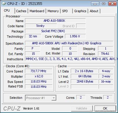 AMD Trinity A10-5800K แรงสุดถึง 7.3GHz