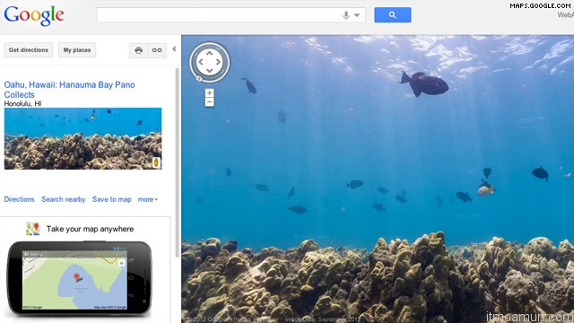 google maps ภาพถ่ายพาโนรามาใต้ท้องทะเล