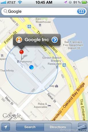 Google Maps สำหรับ iPhone บน iOS6