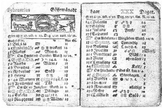 ปฏิทินสวีเดน เดือนกุมภาพันธ์ ค.ศ. 1712