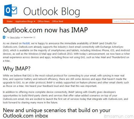 Outlook.com now has IMAP