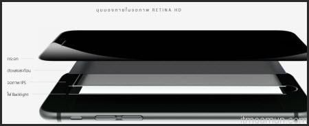 iPhone 6 มุมมองภายในจอภาพ Retina HD