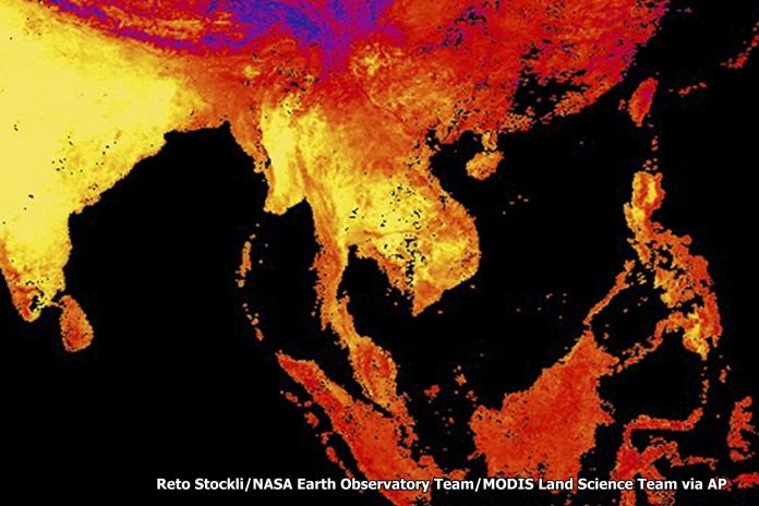 ภาพถ่าย ข้อมูลโดยเครื่องมือตรวจวัดและสร้างภาพการกระจายของรังสีความร้อน บนดาวเทียม Terra และ Aqua