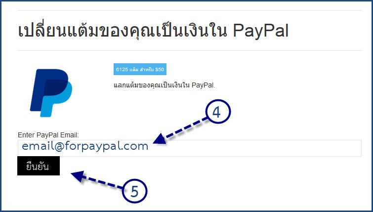 วิธีการแลกแต้มเป็นเงินเข้า Paypal