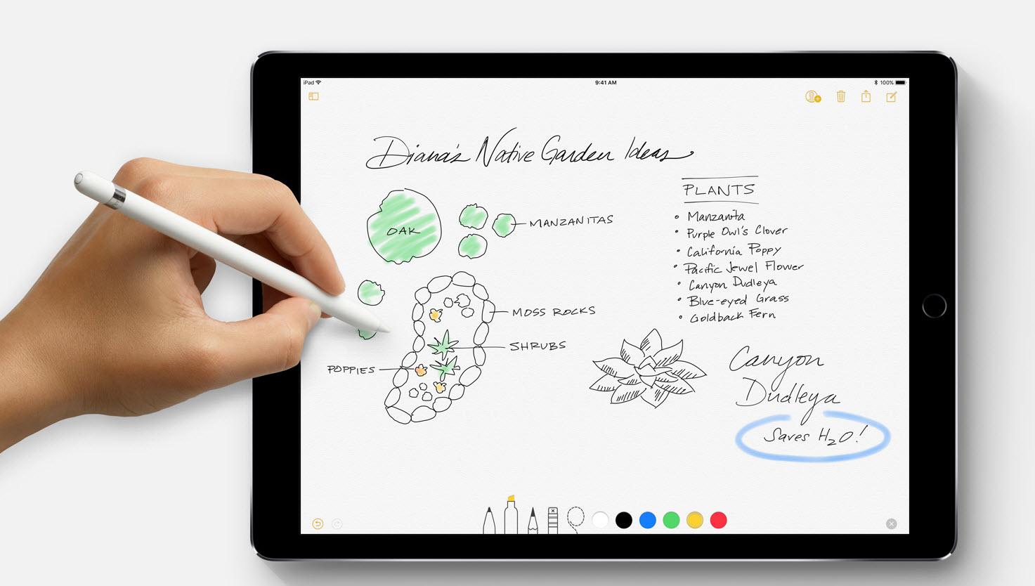 Notas บน iOS 11 iPad Pro